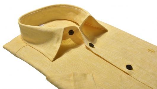 Žltá ľanová Extra Slim Fit košeľa s krátkym rukávom