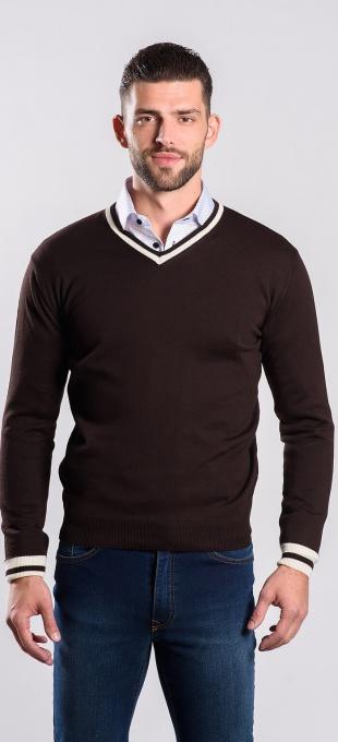 Brown cotton v-neck