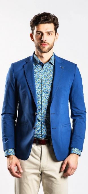 Modré bavlnené sako
