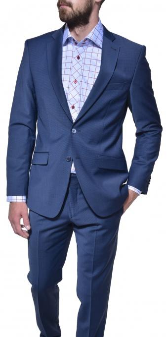 Modrý slim fit business oblek