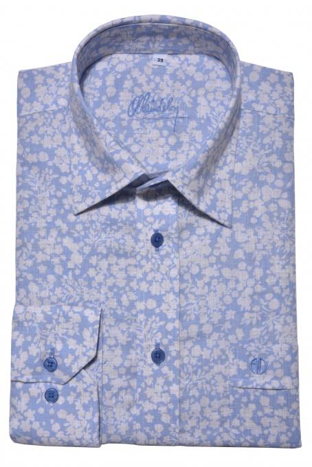 Linen Slim Fit flower patterned shirt