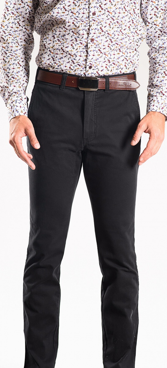 Čierne bavlnené chinos nohavice
