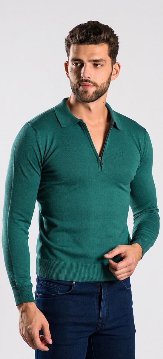 Green long sleeved polo