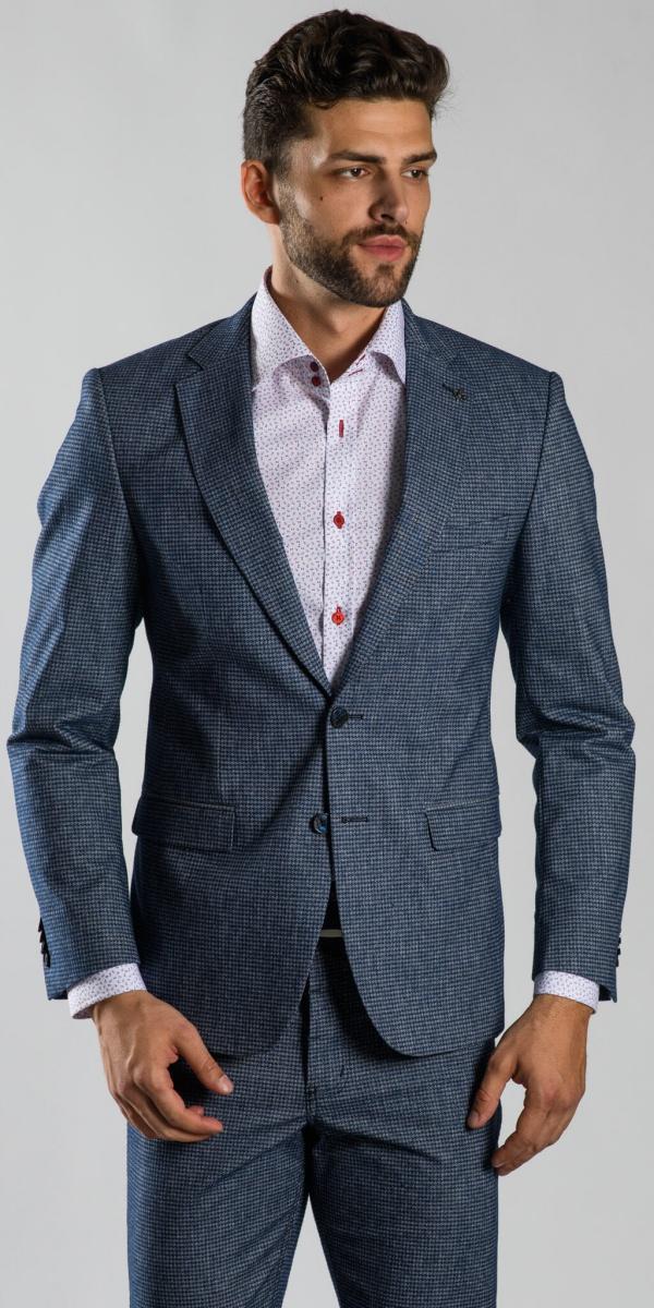 Grey basic cotton blazer