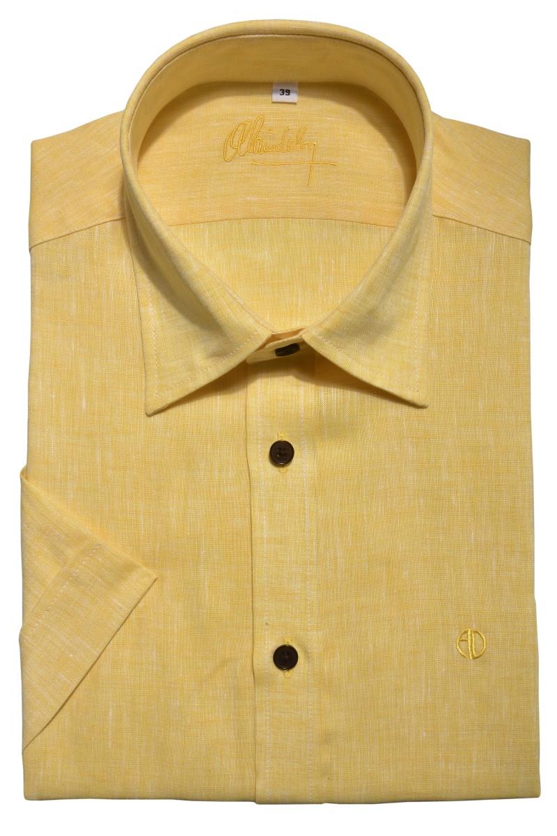 Yellow linen Extra Slim Fit short sleeved shirt