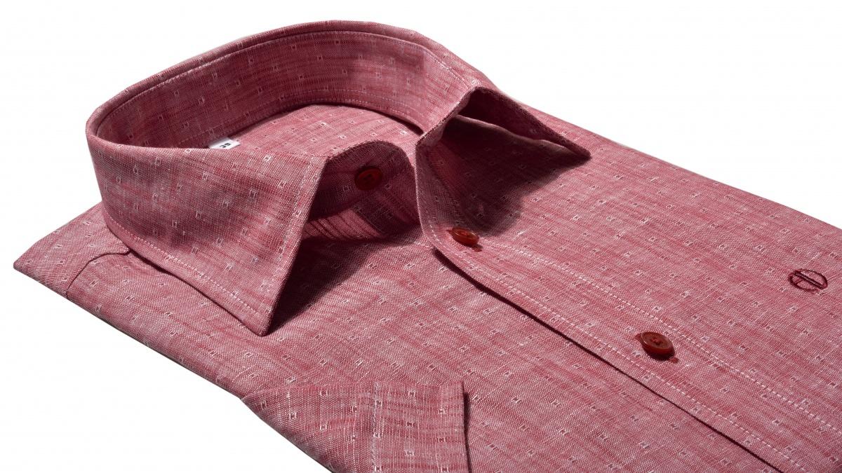 Červená ľanová Slim Fit košeľa s krátkym rukávom