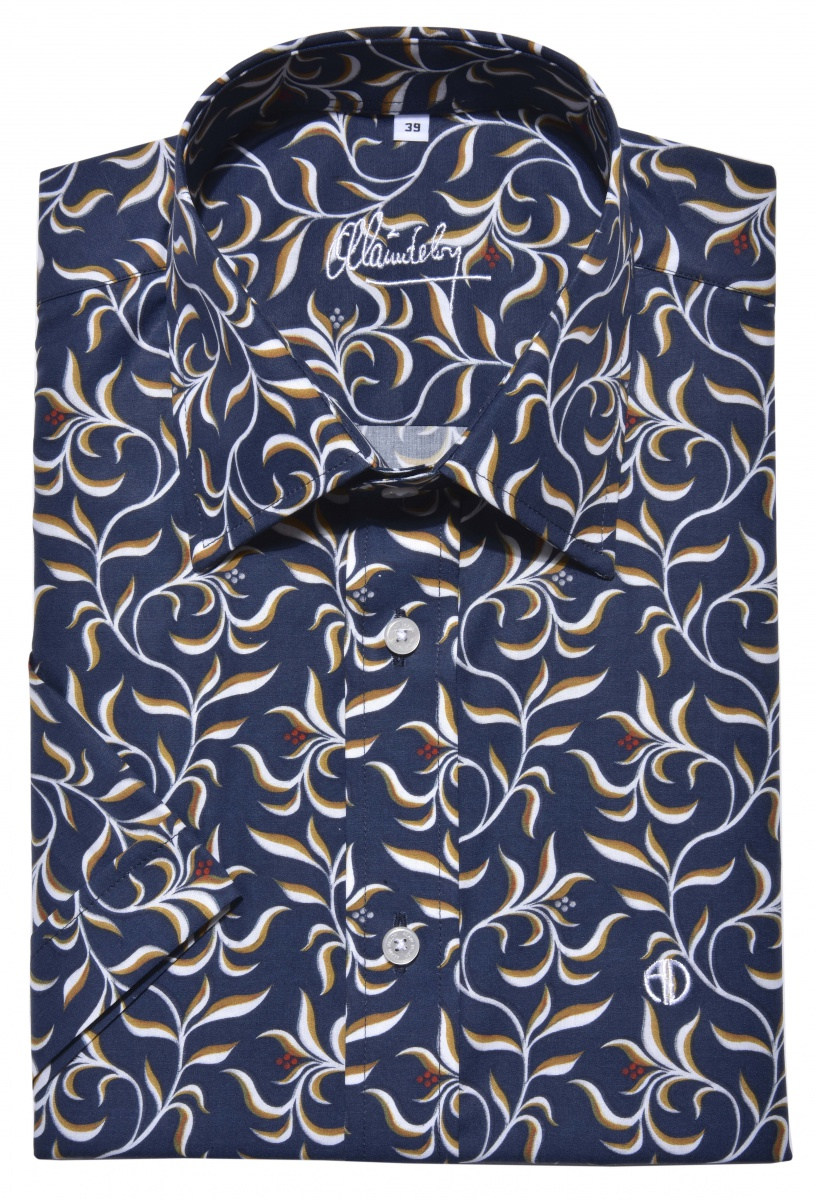Bold blue Slim Fit shirt with short sleeves