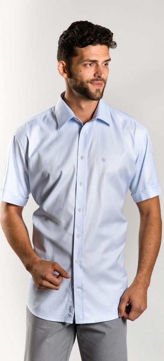 Bledomodrá Classic Fit košeľa s krátkym rukávom