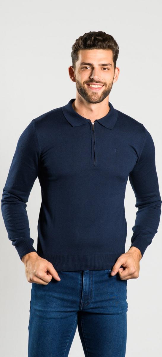 Dark blue long sleeved polo