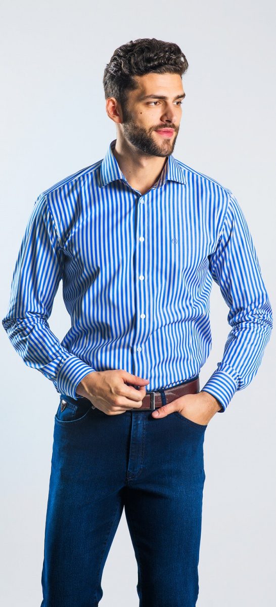 Modrá prúžkovaná Extra Slim Fit košeľa