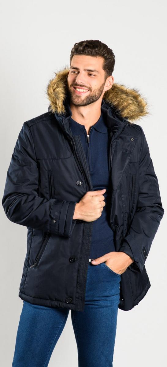 Tmavomodrá zimná bunda