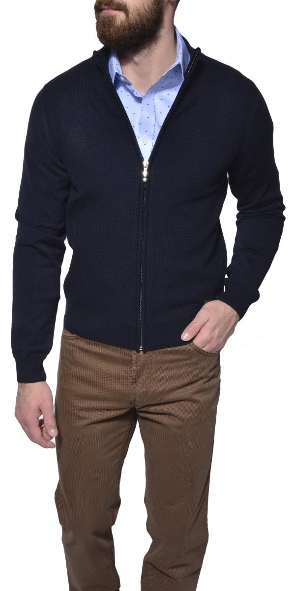 Tmavomodrý sveter na zips
