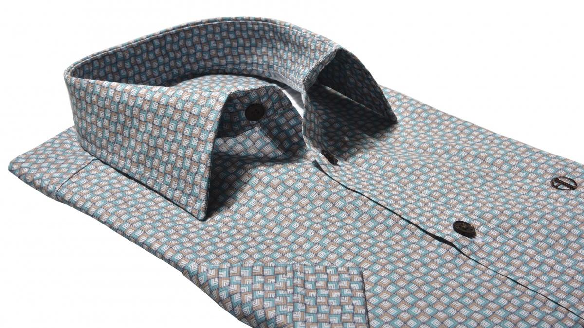 Výrazáná vzorovaná Extra Slim Fit košeľa s krátkym rukávom