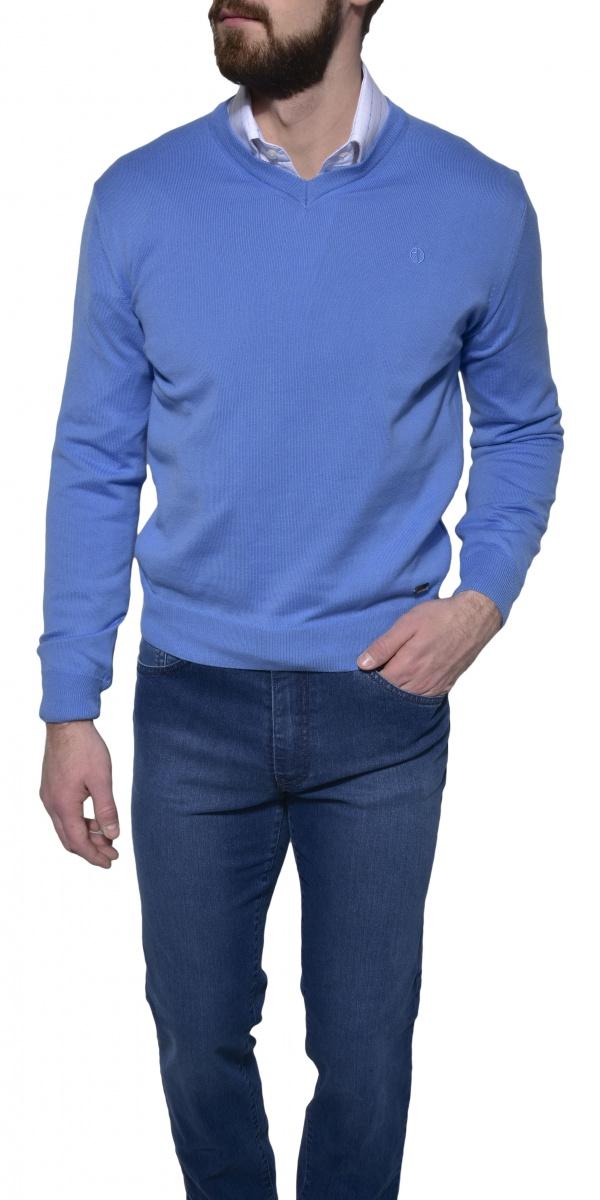 Light blue cotton v-neck