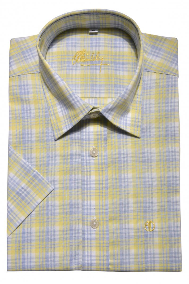 Žltá károvaná Slim Fit košeľa s krátkym rukávom