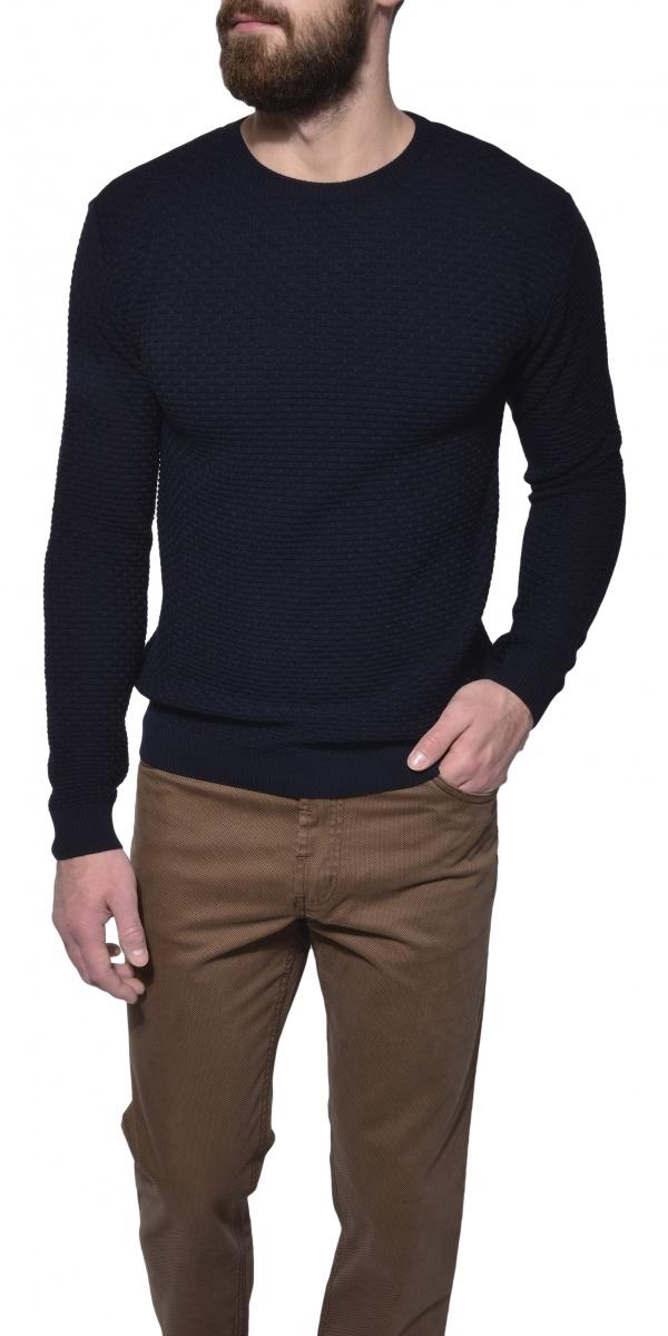 Tmavomodrý vzorovaný pulóver