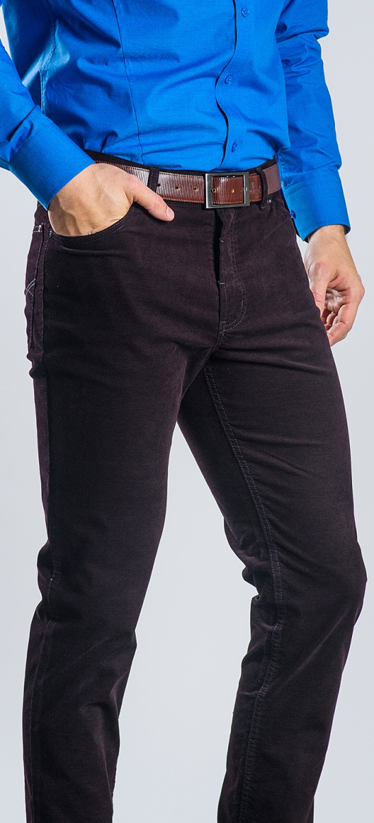 Brown basic five pocket trousers