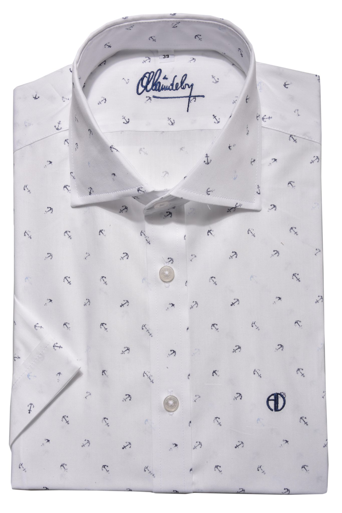 96e5f595154f Biela vzorovaná Extra Slim Fit košeľa s krátkym rukávom - Košele ...